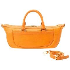 Louis Vuitton Epi Orange Leather Medium Size Weekender Handbag