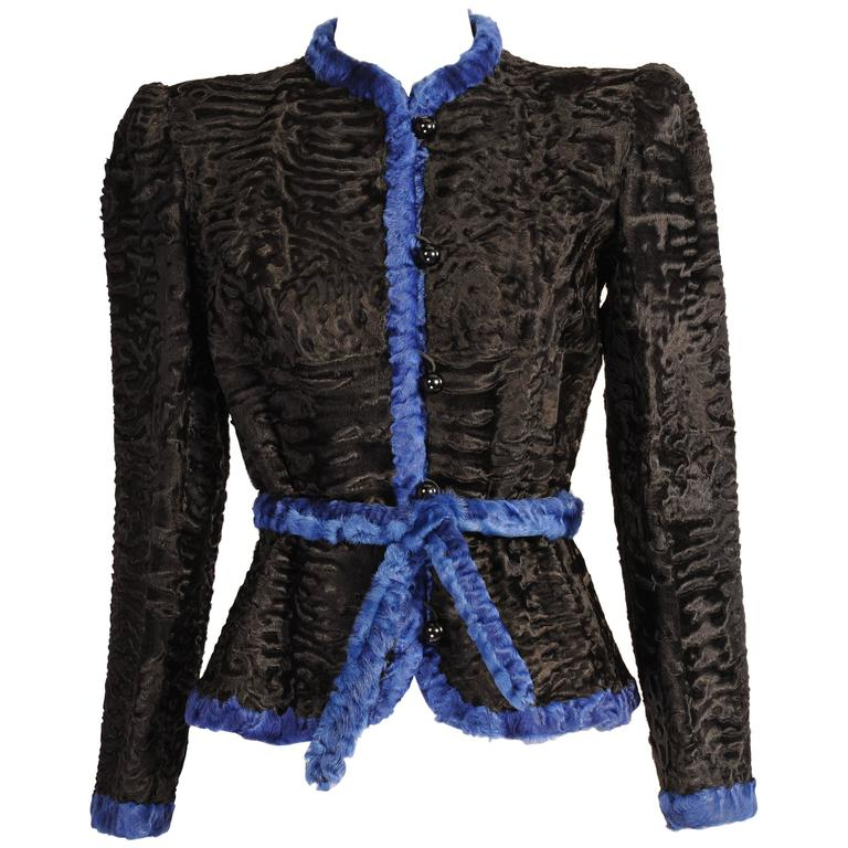 Givenchy Haute Couture Black and Blue Russian Broadtail Jacket For Sale