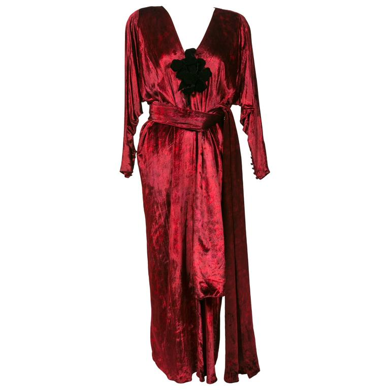 1975 Yves Saint Laurent Haute Couture Iconic  Ruby Silk Velvet  Evening Dress 1
