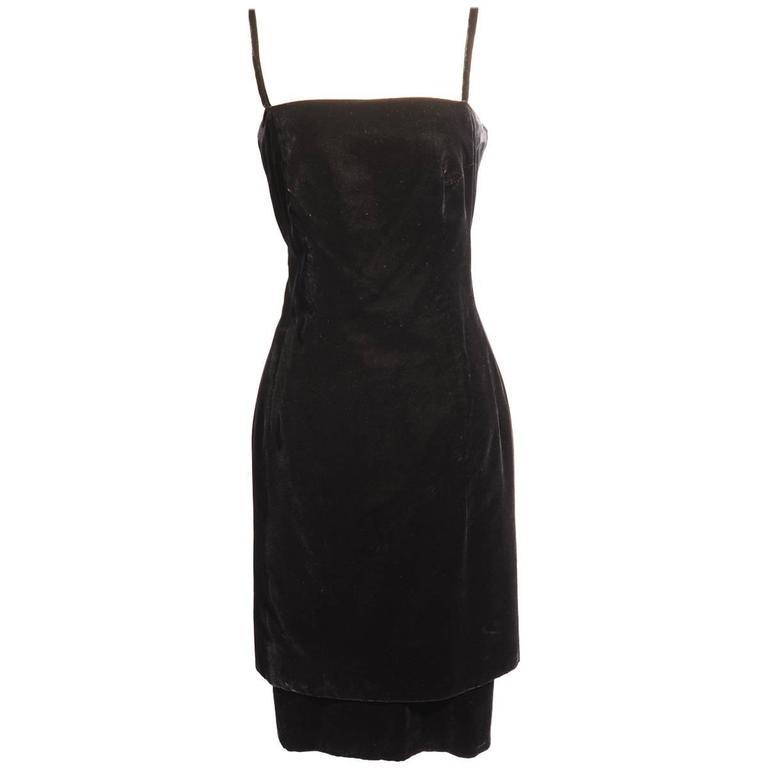 Roberto Capucci Two Piece Black Silk Velvet Cocktail Dress