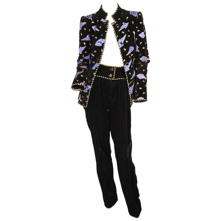 Givenchy Numbered Haute Couture Appliqued Embroidered Velvet Jacket and Pants