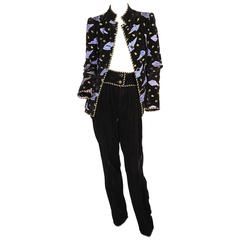 Givenchy Numbered Haute Couture Appliqued and Embroidered Velvet Pants Ensemble