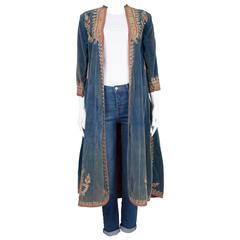 Arabesque Embroidered Blue Velvet Coat