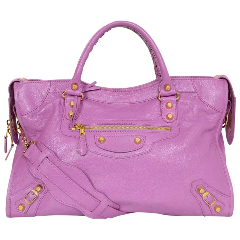 7eb075df61 Balenciaga Rose Berlingot Leather Giant 12 Gold Motorcycle City Bag For Sale