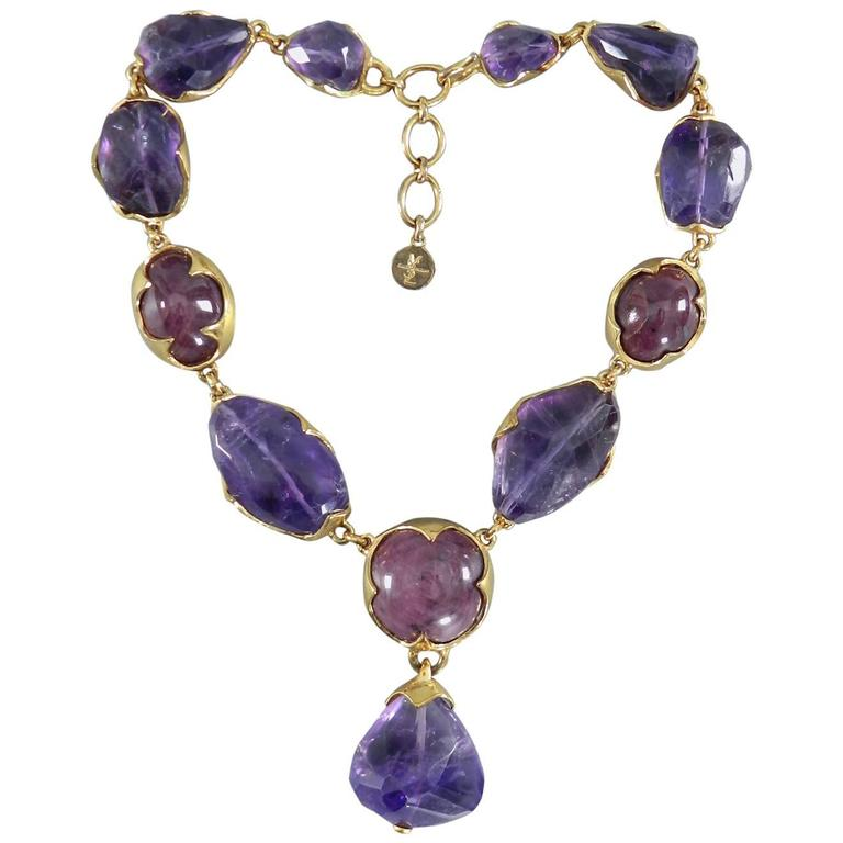 560b5cb4ee Vintage YSL Yves Saint Laurent Haute Couture Chunky Amethyst Necklace