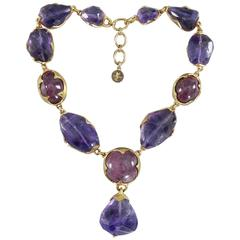 Vintage YSL Yves Saint Laurent Haute Couture Chunky Amethyst Necklace