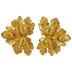 Vintage Dominique Aurientis Gilt Statement Earrings