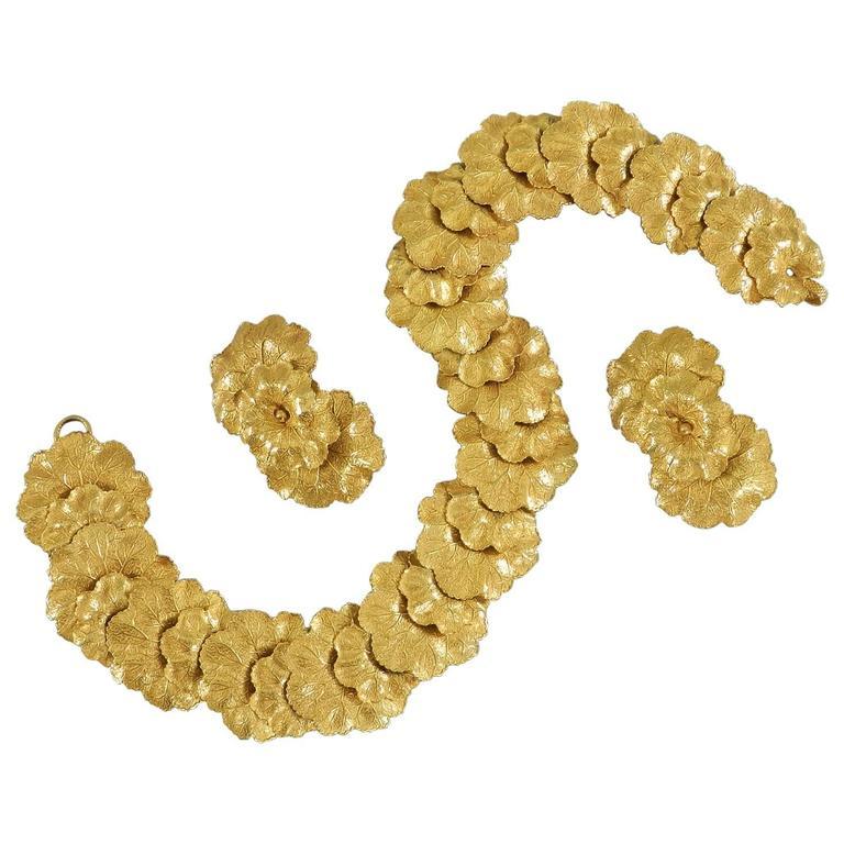 Vintage Dominique Aurientis Gilt Necklace and Earrings Set 1