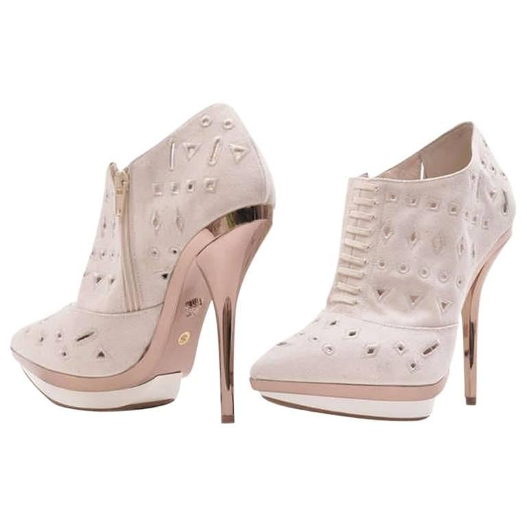 Versace Ivory Eyelet Canvas Metallic Platform Booties For Sale