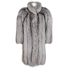 1977 Yves Saint Laurent Couture Dramatic Silver-Fox Fur Chubby Coat Jacket