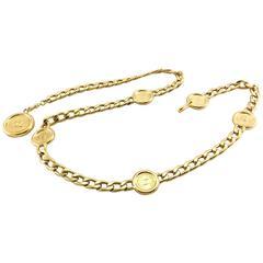 Chanel Gold-Tone Chain Medallion Pendant Belt / Necklace - 1990s