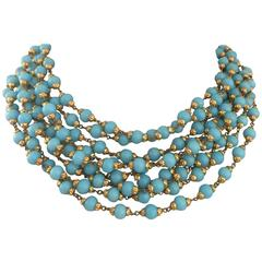 Stunning Turquoise Multi Strand Chanel Necklace