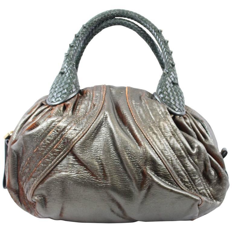 Fendi Bronwn and Orange Spy Bag With Rosehood Leather handle