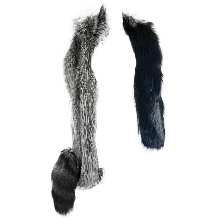 Lanvin fall 2010 Silver fox fur scarf / stole with 1 sleeve 1