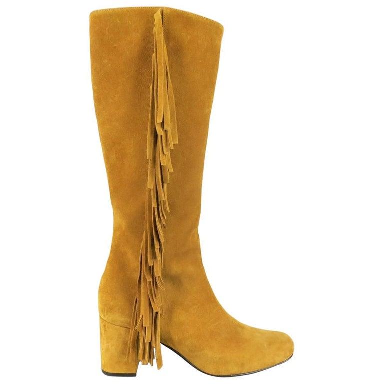 SAINT LAURENT Boots Size 8.5 Tan Suede Fringe Knee High Shoes Heels For Sale