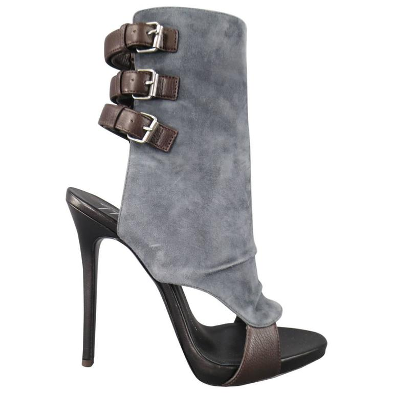 GIUSEPPE ZANOTTI Size 8.5 Gray Suede Brown Leather Buckle Straps Peep Toe Boots