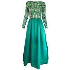 Victoria Royal 1960s Kelly Green Silk Satin Sequined + Beaded Vintage Gown Dress
