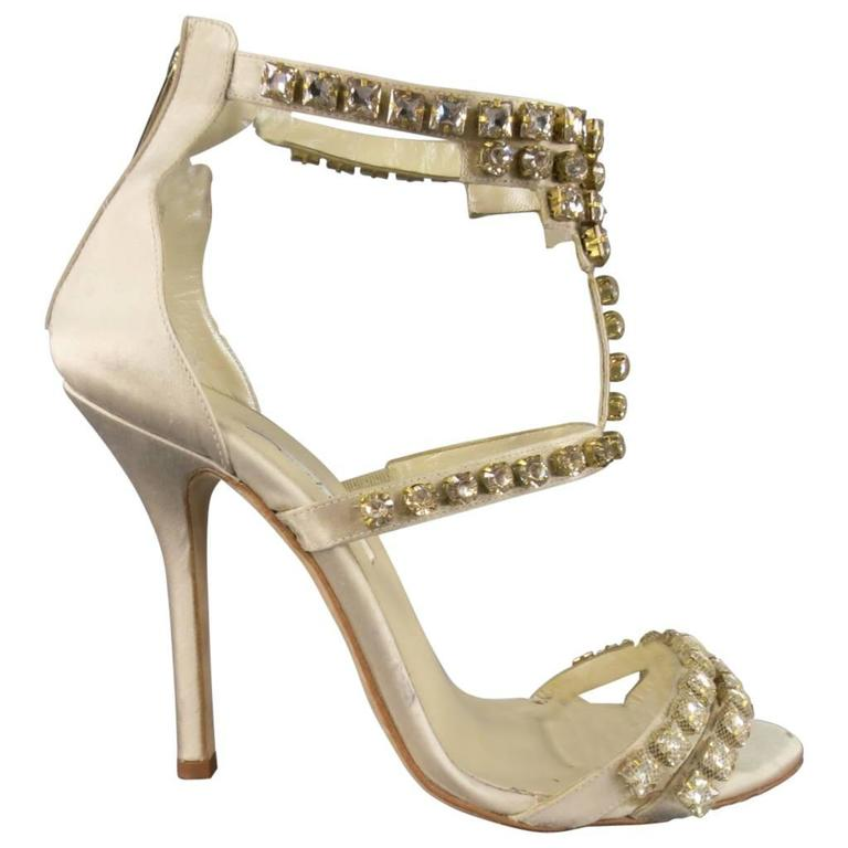 f672dad717f OSCAR DE LA RENTA Heels - Size 8.5 Champagne Silk Rhinestone Ankle Strap  Sandals For Sale