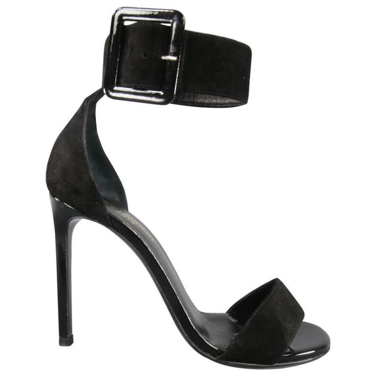 7a542729d0f SAINT LAURENT 8.5 Black Suede Oversized Belt Buckle Ankle Strap Jane 105  Sandals For Sale