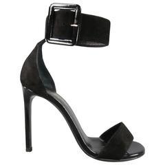 SAINT LAURENT 8.5 Black Suede Oversized Belt Buckle Ankle Strap Jane 105 Sandals