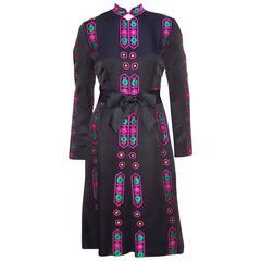 Vibrant 1970's Adele Simpson Asian Inspired Black Satin Dress
