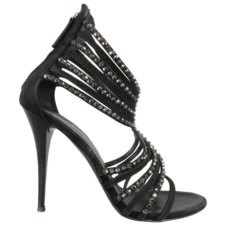 Giuseppe Zanotti Size 8.5 Black Suede Crystal Strappy Sandals For Sale