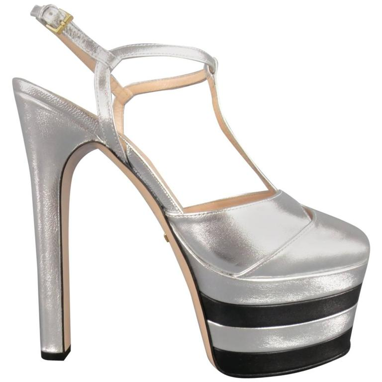 51b6c20a4a2 GUCCI Size 8.5 Silver & Black Leather T Strap Striped ANGEL Platform Pumps