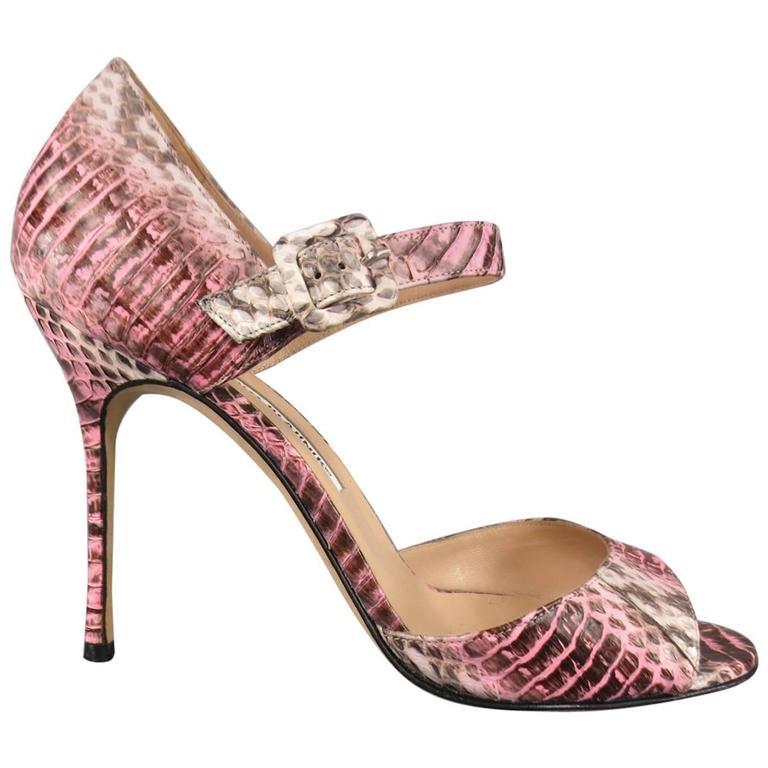 MANOLO BLAHNIK Size 8.5 Pink Snakeskin Mary Jane Peep Toe Caldo Sandals 1