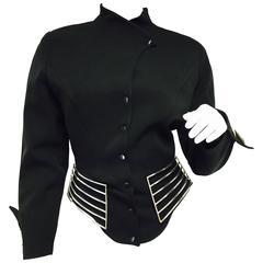 Vintage 1980s Thierry Mugler Space Age Black Wool Blazer Jacket