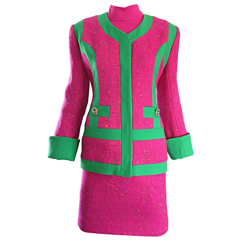 1990s Gemma Kahng Rare Vintage 3 Piece 90s Skirt Suit In Hot Pink and Green For Sale