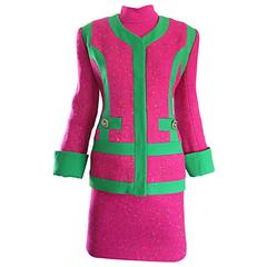 Gemma Kahng Rare Vintage 3 Piece 1990s 90s Skirt Suit In Hot Pink and Green