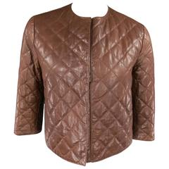 BRUNELLO CUCINELLI Size 4 Brown Cropped Quilted Leather Jacket