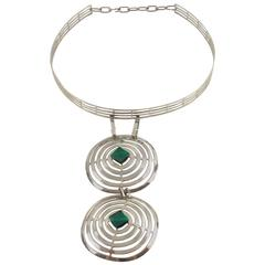 Mid Century Space Age Chrome & Green Cabochon Dog Collar Necklace