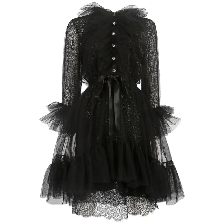 Yves Saint Laurent tulle and lace cocktail dress, circa 1980 For Sale