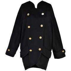 CHANEL Black Cashmere  Cocoon Coat  Mint   40