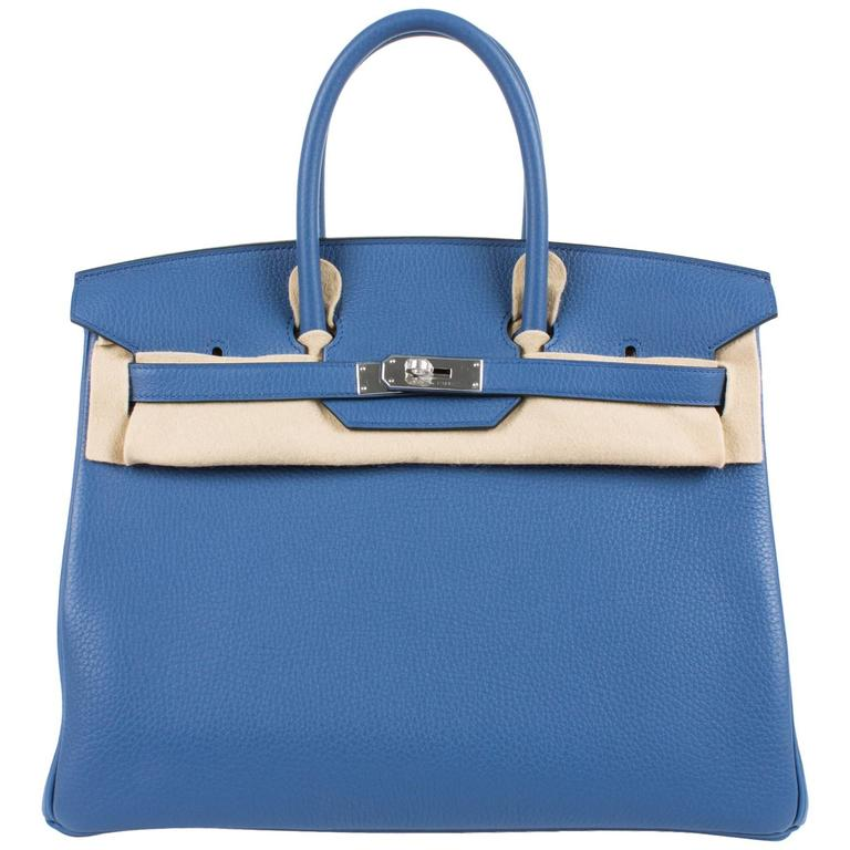 d513fd9a2bf6 Hermès Birkin Bag 35 Blue Agate Clemence - silver hardware at 1stdibs