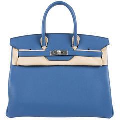 Hermès Birkin Bag 35 Blue Agate Clemence - silver hardware