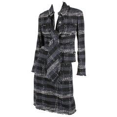 Chanel Suit 3-pcs Jacket, Skirt & Tie - dark blue/black/grey/white