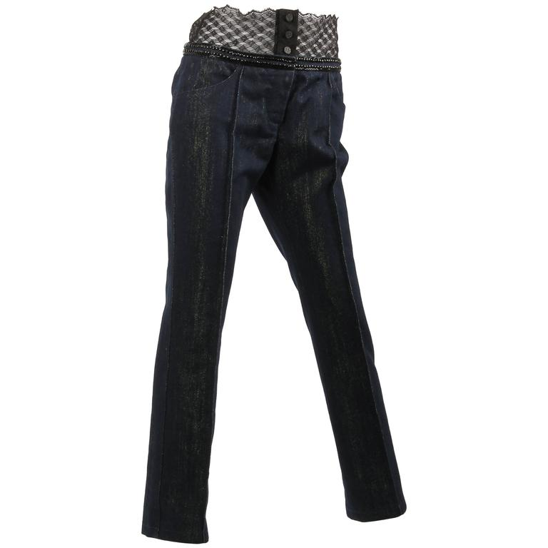 Chanel Jeans Denim Pants - blue/gold & black lace For Sale