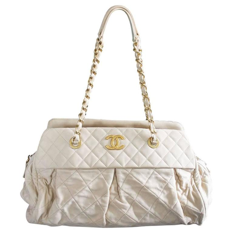 Chanel Soft Lambskin Beige Shoulder Bag Tote with Pleats No. 15 in Box For Sale