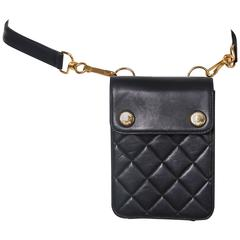 Ca. 1996 Chanel Black Quilted Leather Waist Bag W/Gold Hardware
