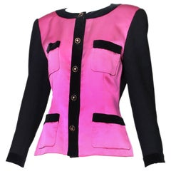 1987 A/H Chanel Pink Satin & Black Wool Boucle Jacket w/Velvet Trim