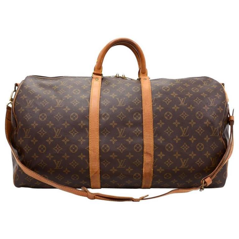 Vintage Louis Vuitton Keepall 55 Bandouliere Monogram Canvas Duffel Travel Bag For