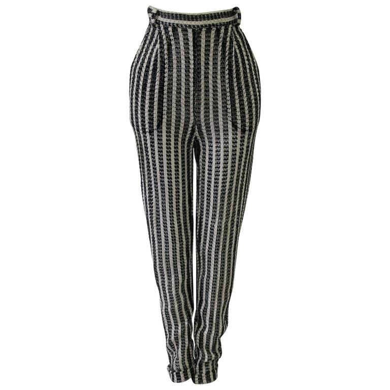 Unique Gianni Versace Couture Punk Striped Pants Fall 1993