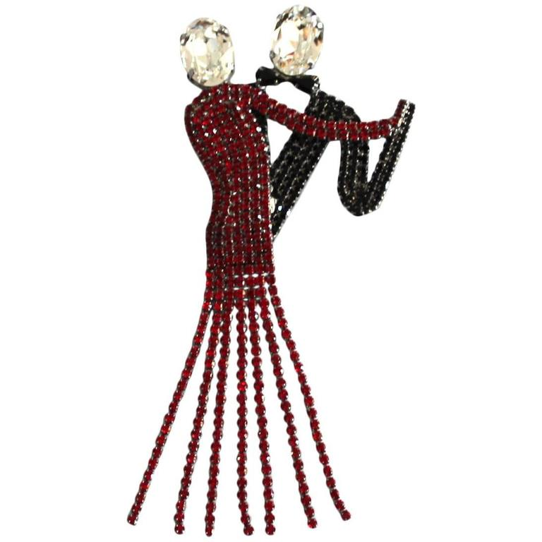 Sensational Butler & Wilson Red Black Crystal Dancing Couple Brooch Pin 1