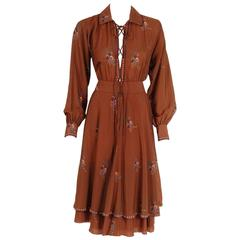 1970's Ted Lapidus Couture Cinnamon Floral Print Lace-Up Billow Sleeve Dress