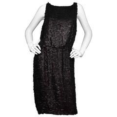 Oscar De La Renta Black Leather Fringe Dress Sz 6