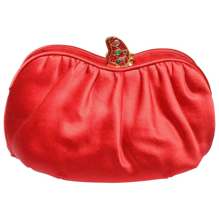 Judith Leiber Satin Clutch with Butterfly Closure For Sale
