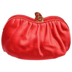 Judith Leiber Satin Clutch with Butterfly Closure