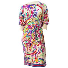 70s Leonard Colorful Paisley Print 3/4 Sleeve Dress